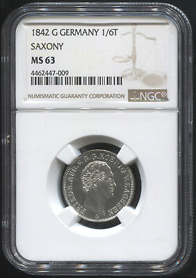 1842 G Germany 1/6T Saxony NGC MS 63
