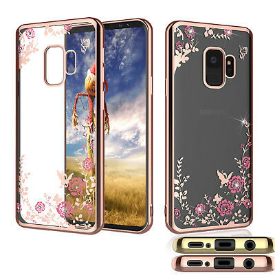 For Samsung Galaxy S9 / S9 Plus + Phone Case Crystal Bling Flower Clear Cover