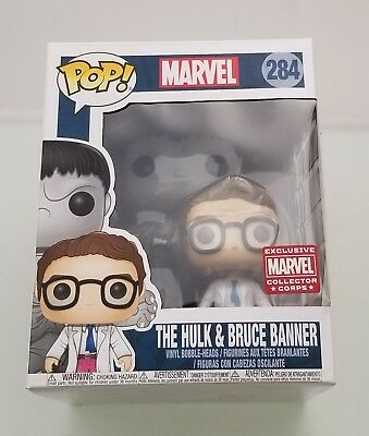 Funko Pop! The Hulk and Bruce Banner 284 Marvel Collector CORPS Exclusive 2-Pack