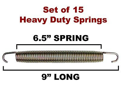 "(SET OF 15) 9"" Heavy Duty Galvanized Spring with Hook Ends (Trampoline-Style)"