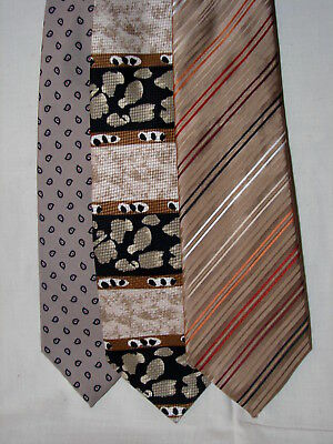 587314849259 #41 Lot of 3 Designer100% SILK TAN TIES Saville Row Beene & Di Maggio