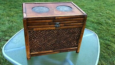 Vintage Antique Chinese Oriental Wicker Box With Clasp