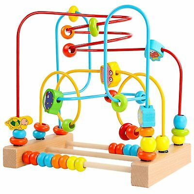 Wooden First Circle Bead Maze Roller Coaster Toy for Kids Play Baby Toddlers