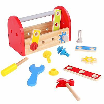 Wooden Tool Box Toy for Kids Construction Pretend Play Set Build Repair Gift