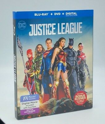 Justice League (Blu-ray+DVD+Digital, 2018; 2-Disc Set) NEW w/ Slipcover