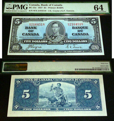 1937 Bank Of Canada 1937 $5 - Pmg 64