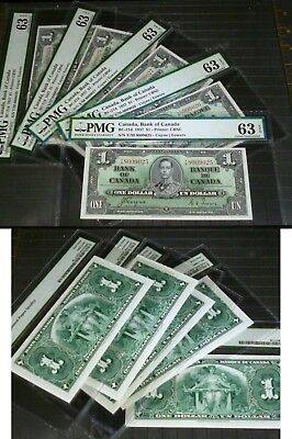 CONSECUTIVE FIVE Bank of Canada 1937 $1 PMG UNCIRCULATED 63