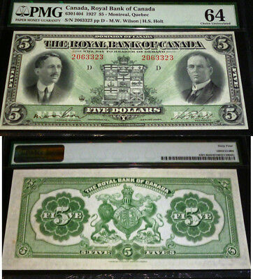 2Nd Highest Pmg Grade Pmg 64 -Royal Bank Of Canada 1927 $5