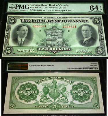 2Nd Highest Pmg Grade Pmg 64 -Royal Bank Of Canada 1927 $5- With Epq Designation