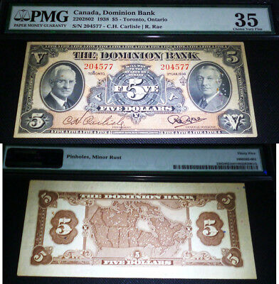 1935 $5 The Dominion Bank  Pmg 35 Choice Very Fine