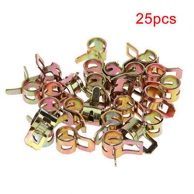 """25Pcs 1/4"""" Spring Clip Fuel Oil Line Fit 1/2"""" Hose Water Pipe Air Tube Clamps"""