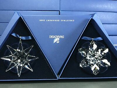 Swarovski Large Annual Edition Christmas Ornament 2008 & 2009 Set MIB