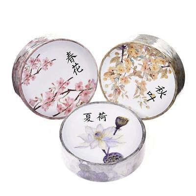 DIY Plant Floral Washi Sticker Decor Roll Paper Masking Adhesive Tape Craft Gift