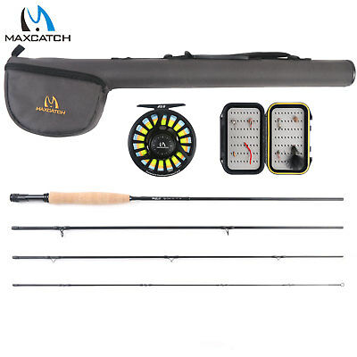 Maxcatch Fly Rod Combo 5/6WT 9FT Fishing Rod, Pre-spooled Reel, Box,Flies Outfit