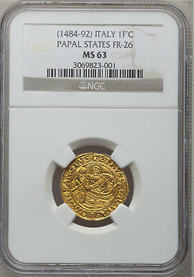 Finest Known Renaissance 1484-92 Pope Innocent Viii Gold Ngc Ms63 Xxxxrare