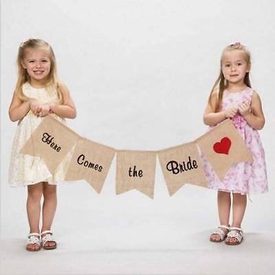 """Burlap Bunting Banner """"Here Comes the Bride"""" Sign Flags Rustic Wedding Decor"""