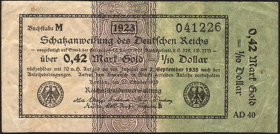 Ro.142a 0,42 Mark Gold = 1/10 Dollar 1923 (3)