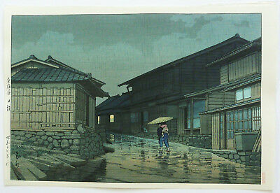 GENUINE JAPANESE WOODBLOCK PRINT By KAWASE HASUI  RAIN AT NISSAKA