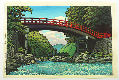 GENUINE JAPANESE WOODBLOCK PRINT By KAWASE HASUI THE SACRED BRIDGE AT NIKKO