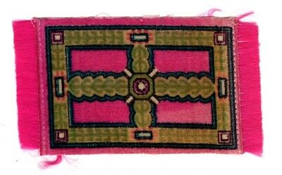 DOLLHOUSE  MINIATURE CIRCA 1910 VINTAGE FRINGED TAPESTRY RUG 2 By 4 Pink Green