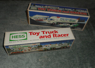 LOT 2 HESS GASOLINE TRUCKS WITH RACER CARS 1997 & 1991 w/ORIGINAL BOXES