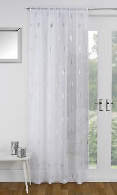 Shimmery Silver Glitter Metallic Birch Trees White Thick Voile Curtain Panel