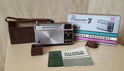 National Panasonic R-807 2-Band MW SW 8 Transistor Package Manual Leather Case