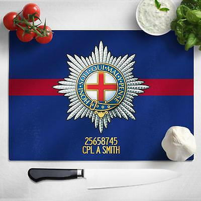 Personalised Coldstream Guards Glass Chopping Board Cutting Worktop Saver MT08