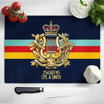 Personalised Corps Army Music Glass Chopping Board Cutting Worktop Saver MT09