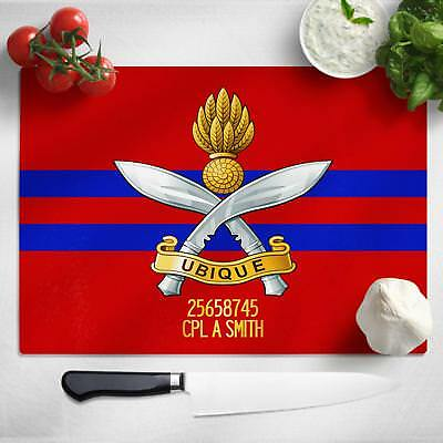Personalised Queen's Gurkha Engineers Glass Chopping Cutting Board Worktop MT18
