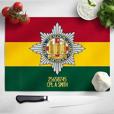 Personalised Dragoon Guards Glass Chopping Cutting Board Worktop Saver MT37
