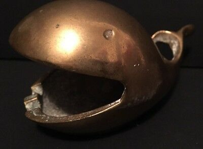 """Vintage 4"""" Solid Brass Whale Ashtray With Open Mouth RARE Collectible"""