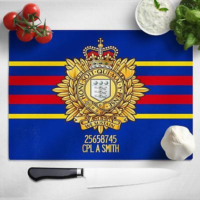 Personalised Logistics Corps Glass Chopping Cutting Board Worktop Saver MT44