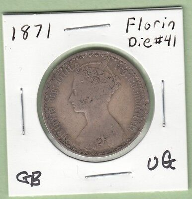 1871 Great Britain One Florin Silver Coin - VG