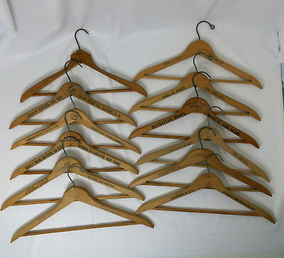 LOT 12 Vintage Wooden  Coat Shirt Hangers Various Hotel  Store City Name NYC
