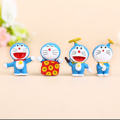 Anime Doreamon Cute Figures Toys Cake Toppers Decoration 4Pcs mini size 2018