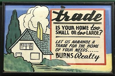 1930s Vintage Hand Painted Trade Your House Sign Real Estate Advertising Framed