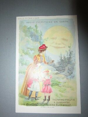 Heckers Buckwheat Man in the Moon Hold to the Light Trade Card