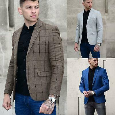 CAVANI Mens Formal Casual Tweed Herringbone Check Slim Designer Blazer Jacket