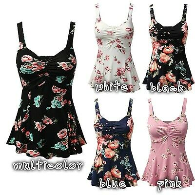 US Stock PLUS SIZE Women Summer Floral Print Sleeveless Vest Tops Blouse T-Shirt