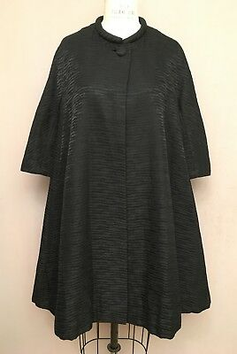 VTG 1950s Trapeze Swing Tent Rockabilly Coat Black Moire Ripple Cocktail S/M