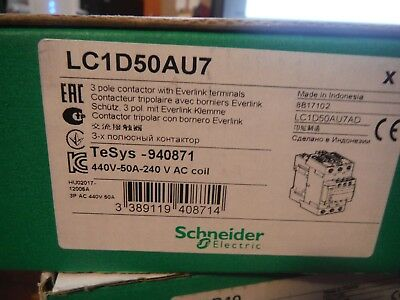 New Genuine Schneider Electric TeSys LC1D50AU7 50A, 240V, 3 Pole Contactor
