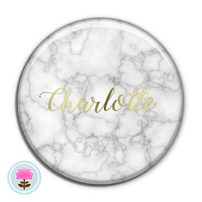 Personalised MARBLE Rose/Silver/Gold Foil POCKET MIRROR 58mm Wedding/Hen Favour