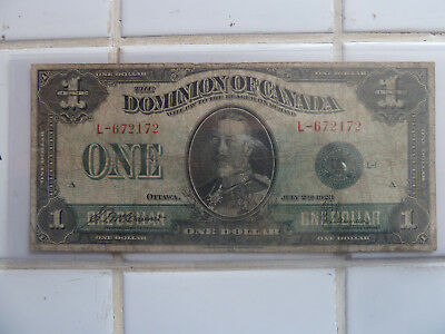 1923 one dollar canadian Bank Note l-672172!!!