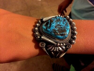 Navajo style bracelet HUGE  Sterling Silver & Turquoise  --  Collectors quality