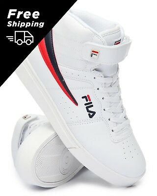 81abe359cdf0 New 2018 Men s Fila Vulc 13 Mid Plus White Red Blue Classic High Top  Sneakers