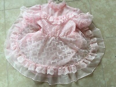 Easter Party Vintage  Girls Ruffled Lace Full Circle Dress size 6 pink Pageant