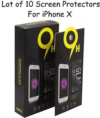 Wholesale Lot of 10 Pieces Premium 9H Tempered Glass For iPhone X 10 BEST VALUE!