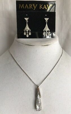 acef3f203 Lia Sophia Tear Drop Cz Pendant Silver Tone, Signed Chain & Mary Kay  Earrings