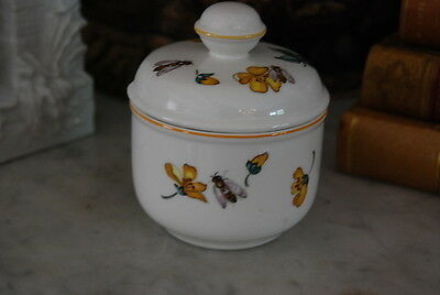 Vintage Villeroy & Boch Sugar Or Mustard Jar Decorated With Flowers And Insects